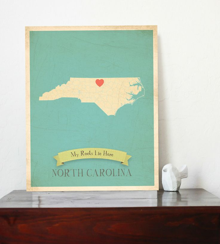 North Carolina Roots Map 11x14 Customized Print