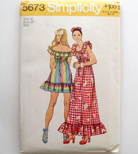 Mini Maxi Dress Pattern 1970s Ruffle Off the by WildPlumTree