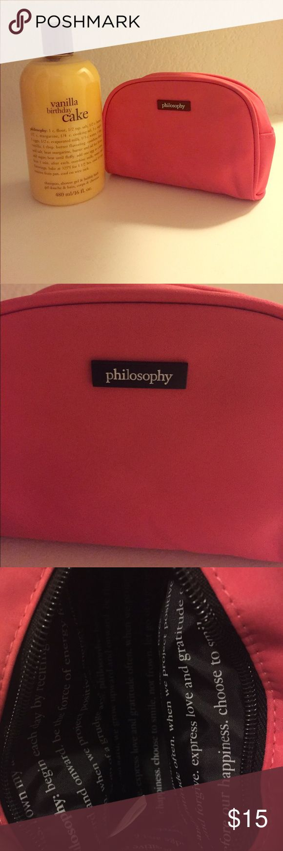 Philosophy birthday cake and cosmetic bag 🎂Philosophy vanilla birthday cake 3in1 shampoo, shower gel and bubble bath (16oz) with philosophy cosmetic bag , sealed, absolutely never opened, plus free gift with purchase 🎁 Philosophy Makeup