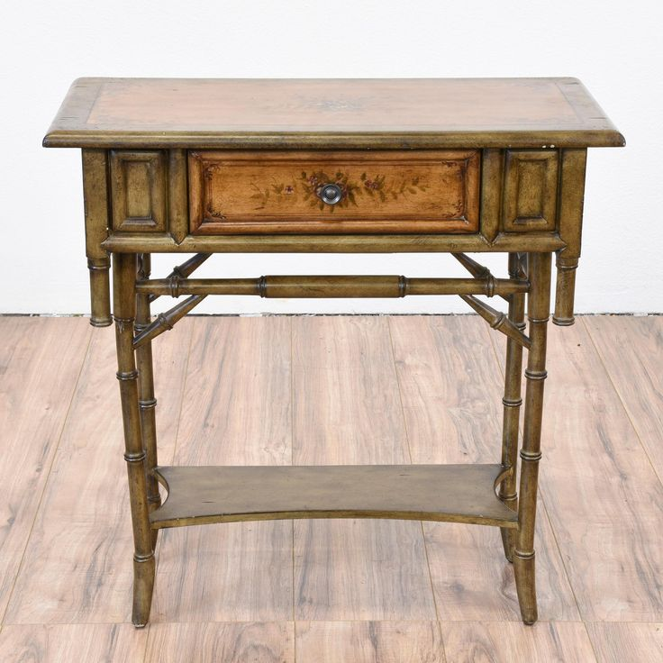This Tropical Side Table Is Featured In A Solid Wood With Faux Carved Bamboo  Details In