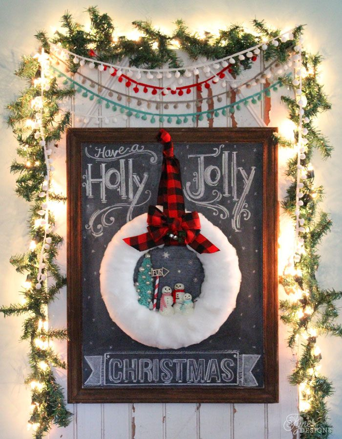 DIY Glittery snowman wreath