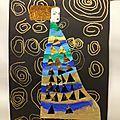 Niveau: MS Materiel: Feuille papier noir 50cmx32cm, feutres dorés, peintures: bleu clair et foncé, vert, doré, papier autocollant...