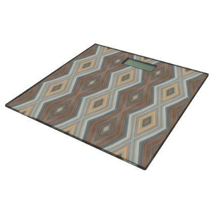 Teal Slate Blue Beige Brown Funky Argyle Pattern Bathroom Scale - pattern sample design template diy cyo customize