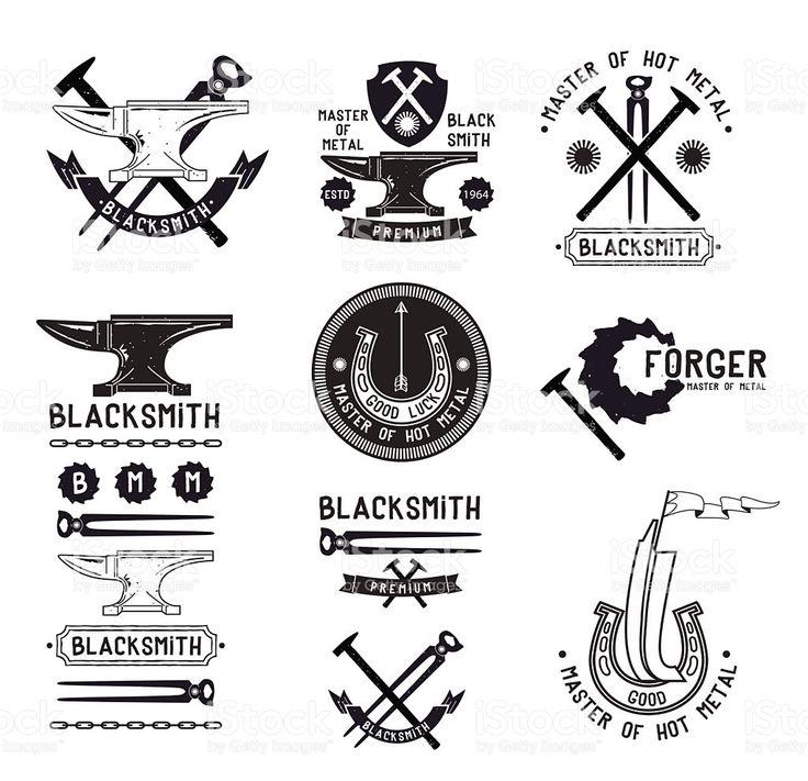 Ensemble de vintage Forgeron logo, étiquettes et des éléments de conception stock vecteur libres de droits libre de droits