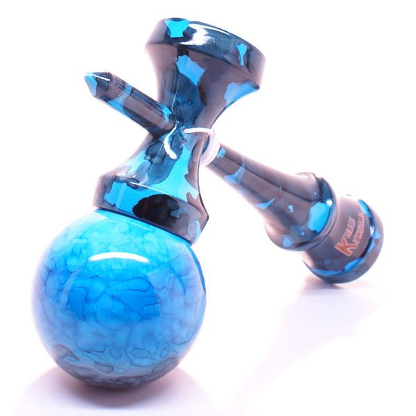 Blue Ocean Marble Kendama - Full Unique fully marble painted with baby blue, blue & black swirled together to make this stylized deep ocean themed Kendama.