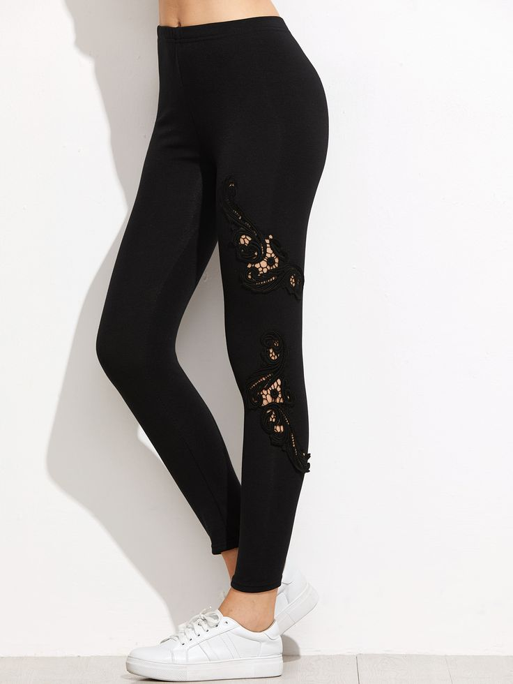 Leggings creux avec dentelle - noir -French SheIn(Sheinside)