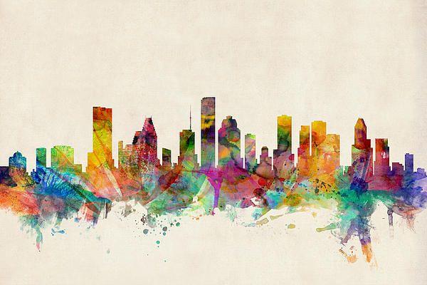 Watercolor Houston Skyline - Michael Tompsett