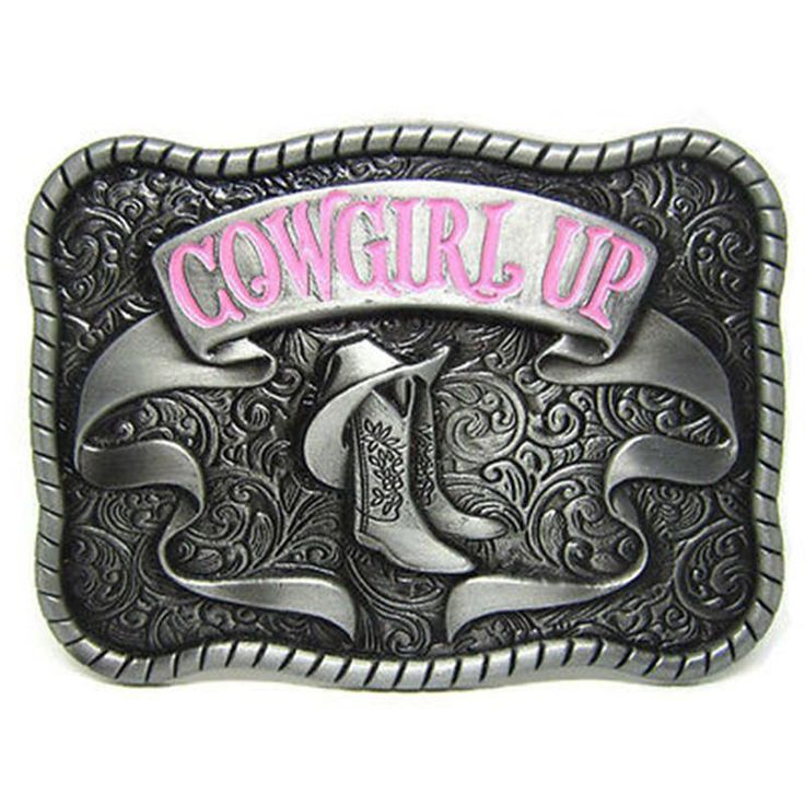 "Vintage Western Cowboy Zinc Alloy ""COWGIRL UP"" Belt Buckle Womens Classic #Unbranded #Classic"