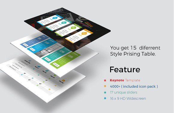 Pricing Table Keynote Template by ZAAS on @creativemarket
