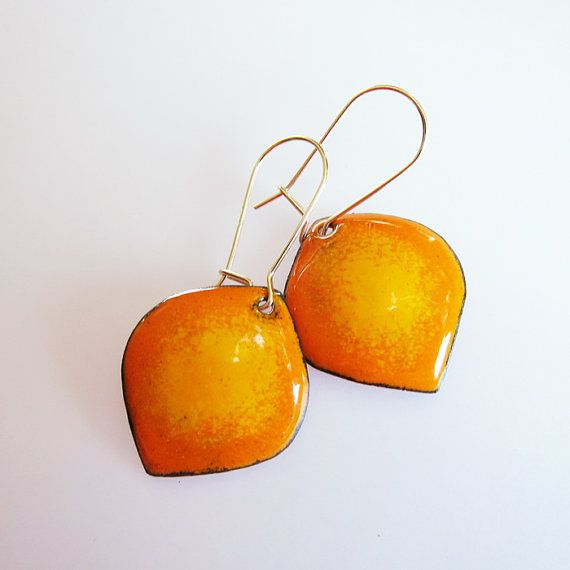 Yellow orange dangle earrings Enamel earrings Leaf drop earrings 14k gold-filled enameled copper jewelry