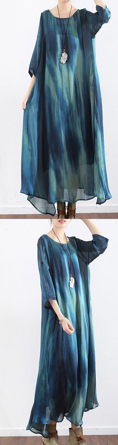 2017 blue  silk dresses plus size casual sundress asymmetric short sleeve maxi dress
