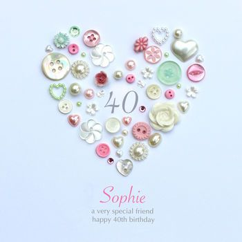 personalised 40th birthday button artwork by sweet dimple | notonthehighstreet.com