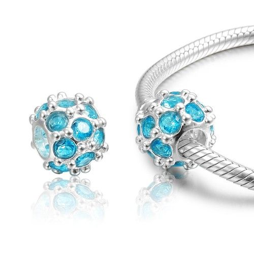 Fall New Arrival Bright Blue Rond Crystal Charm 925 Sterling Silver Pandora Compatible - Soufeel