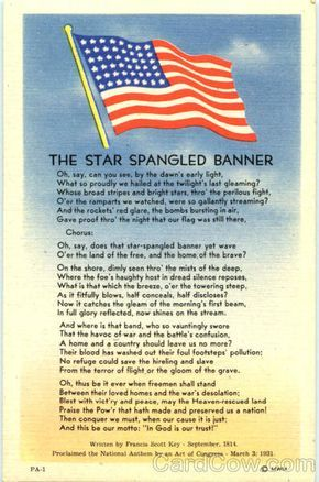The Star Spangled Banner - #USA National Anthem. #DYK? There are more words to the poem authored by Francis Scott Key than are in our National Anthem? Check it out! #History