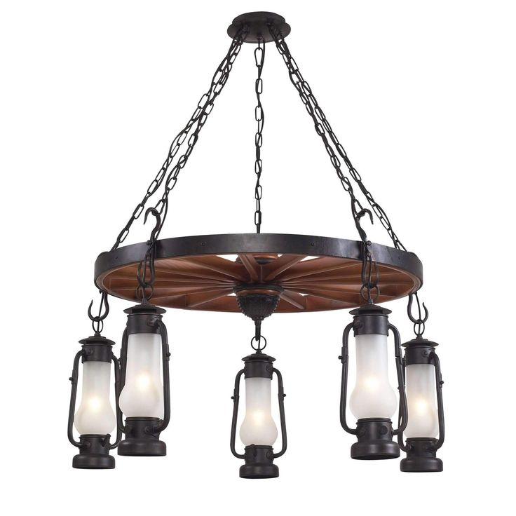 Chapman 5 Light Chandelier In Matte Black And Acid Etched Glass