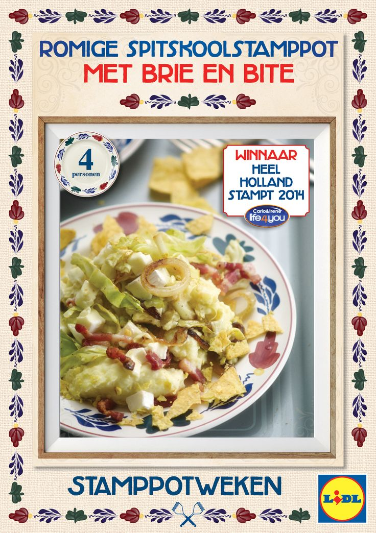 Fijn #stamppot recept met knapperige spitskool, hartige gebakken spekjes, blokjes feta en zoete appel. #Lidl