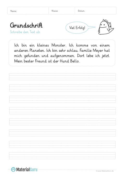 Arbeitsblatt: Text in Grundschrift abschreiben 03 | Schule ...