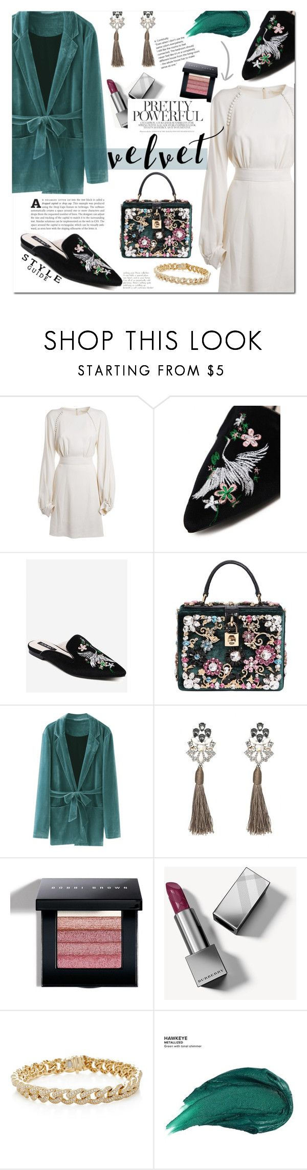 """""""Velvet"""" by mery90 ❤ liked on Polyvore featuring Chloé, Dolce&Gabbana, Bobbi Brown Cosmetics, Burberry, Sydney Evan, Urban Decay, vintage, velvet, fallstyle and zaful"""