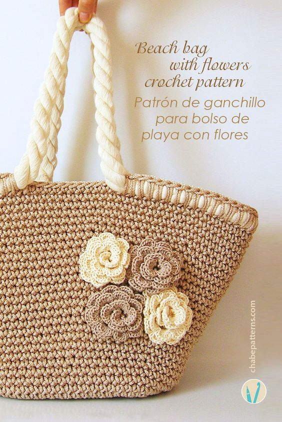 Crochet pattern for beach bag with flowers, chart with symbols, photo tutorial and row by row instructions/ Patrón de gancho para bolso de playa con flores, foto tutorial, esquema con símbolos e instrucciones paso a paso by Chabepatterns: