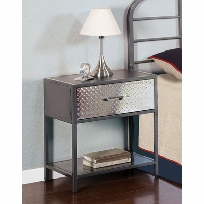 Hmmmm black table with diamond plate use wall border i for Metal night stands bedroom