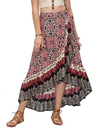 b13052c46e0 Milumia Women s Bohemian Floral Print Wrap Skirt Long Maxi Skirt Cotton