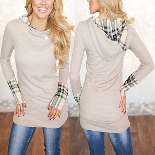 Stylish Hooded Long Sleeve Spliced Plaid Women's Hoodie (BEIGE,L) in Sweatshirts & Hoodies | DressLily.com