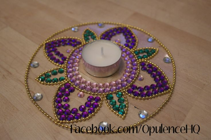 Kundan rangoli tealight candle decoration handmade by for Aarti thali decoration with kundan