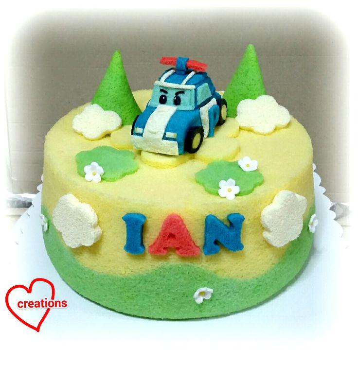 Loving Creations for You: Robocar Poli Vanilla-Pandan Chiffon Cake