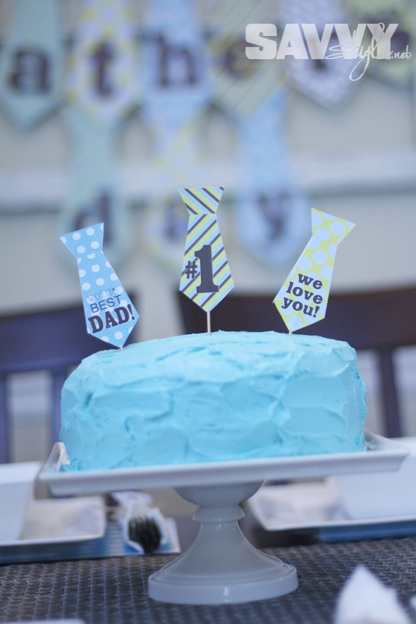 Father's Day DIY Decor with awesome free printables from Amanda's Parties to Go! http://savvystyle.net/2013/06/17/fathers-day-party-diy-decor/  fathers-day-cake