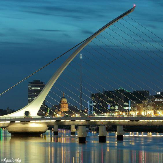 Harp-shaped bridge in the Dublin City Centre