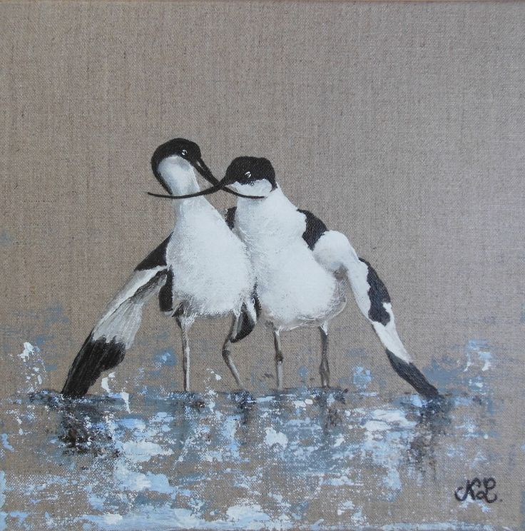Tableau oiseau avocettes peinture animali re sur toile - Peinture sur lin ...