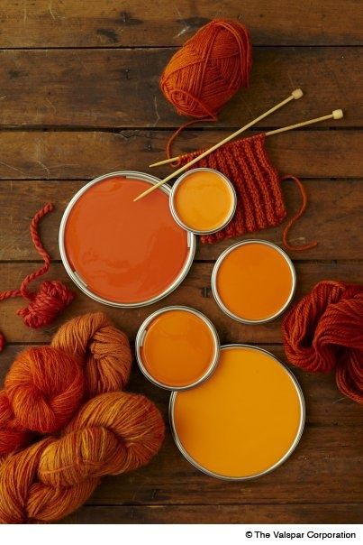 "beautiful composition: knitting needles, orange yarn & orange paint. Colors: ""Shades of Evening Sun"""