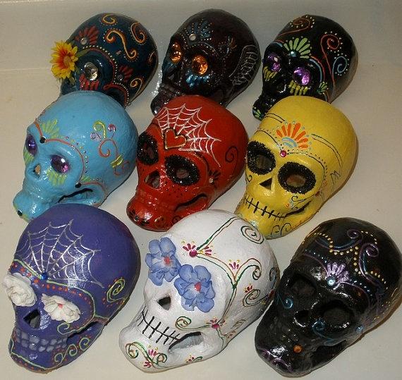 Garden Fiesta Paper Mache Sugar Skull $20