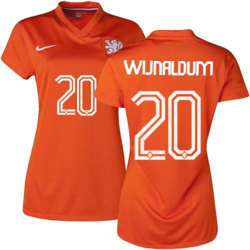 Women\u0027s Georginio Wijnaldum Netherland Soccer Jersey - Orange 2014 World  Cup #20 Nike Replica Home
