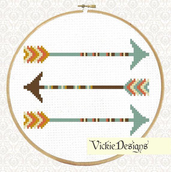 Three Geometric Minimalist Arrows Modern Cross Stitch Pattern PDF