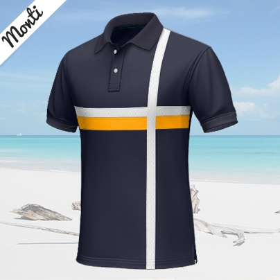Monti    Casual blue polo shirt, short-sleeved, 100% cotton...    This blue custom polo shirt has a plain, but modern design, with a yellow stripe across the chest, which crosses 2 white stripes. The colors contrast each other strongly, which creates a very appealing and attractive look. http://www.tailor4less.com/en/collections/custom-polo-shirts/endless-summer/monti