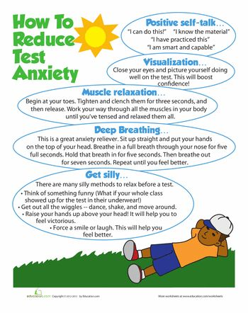 Worksheets: Test Anxiety Tips | Repinned by Melissa K. Nicholson, LMSW http://www.adoptioncounselinggr.com