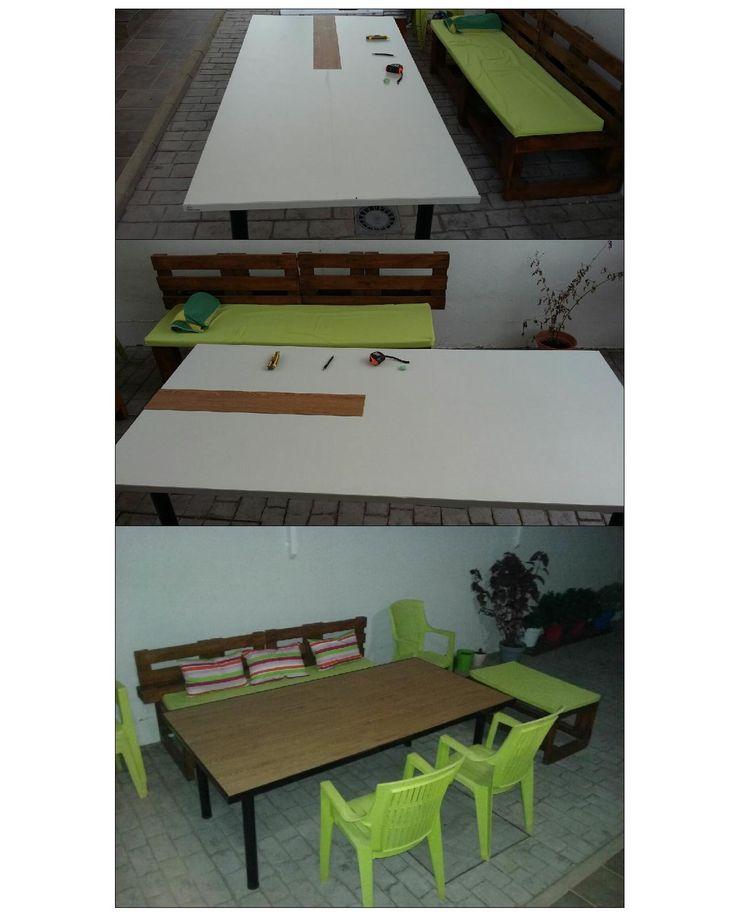 Una mesa de reunión de oficina pasa a ser una mesa de jardín
