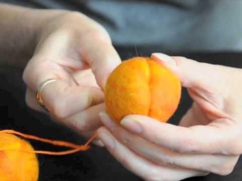 excellent pumpkin felting tutorial another http://themagiconions.blogspot.com/2011/08/how-to-needle-felt-adorable-pumpkin.html
