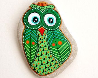 RESERVED for Valeria Hand Painted Stone Owl by ISassiDellAdriatico