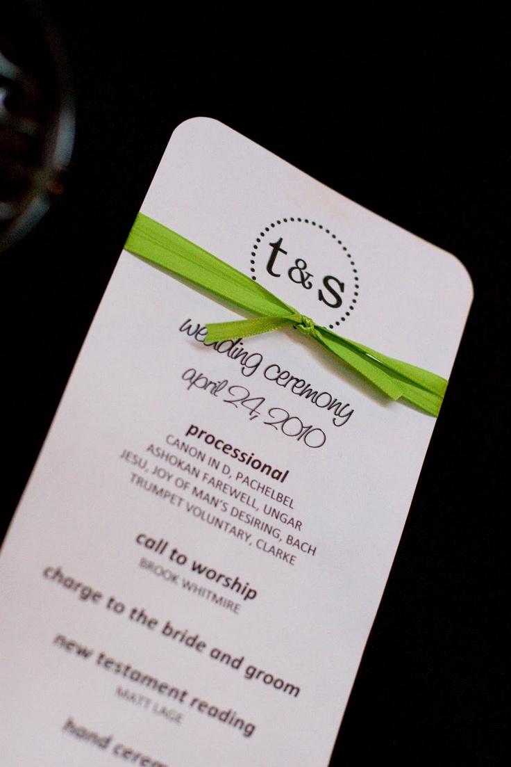 simple wedding program: Wedding Programs, Future Plans, Simple Weddings, Bridal Ideas, Simple Wedding Program, Program Design, Wedding Ribbons, Simple Program, Insanity Workout