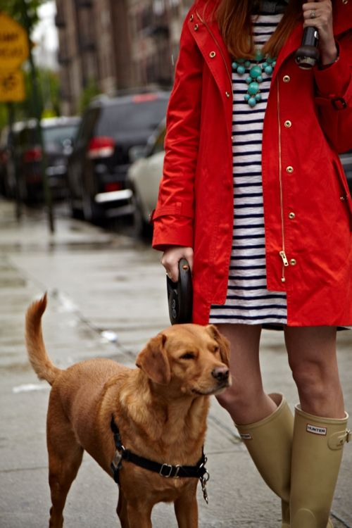 Dress + Hunter Boots (Joan Gilbert + Brady)---obvi would be cuter with border collies as the dog accessory...