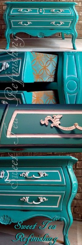 @generalfinishes Patina Green, Coastal Blue, Snow White, Champagne Pearl Glaze Completed for #FabFlippinContest