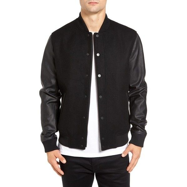 Men's Topman Varsity Bomber Jacket ($150) ❤ liked on Polyvore featuring men's fashion, men's clothing, men's outerwear, men's jackets, black, mens varsity bomber jacket, mens jackets, mens letterman jacket and men's varsity style jackets
