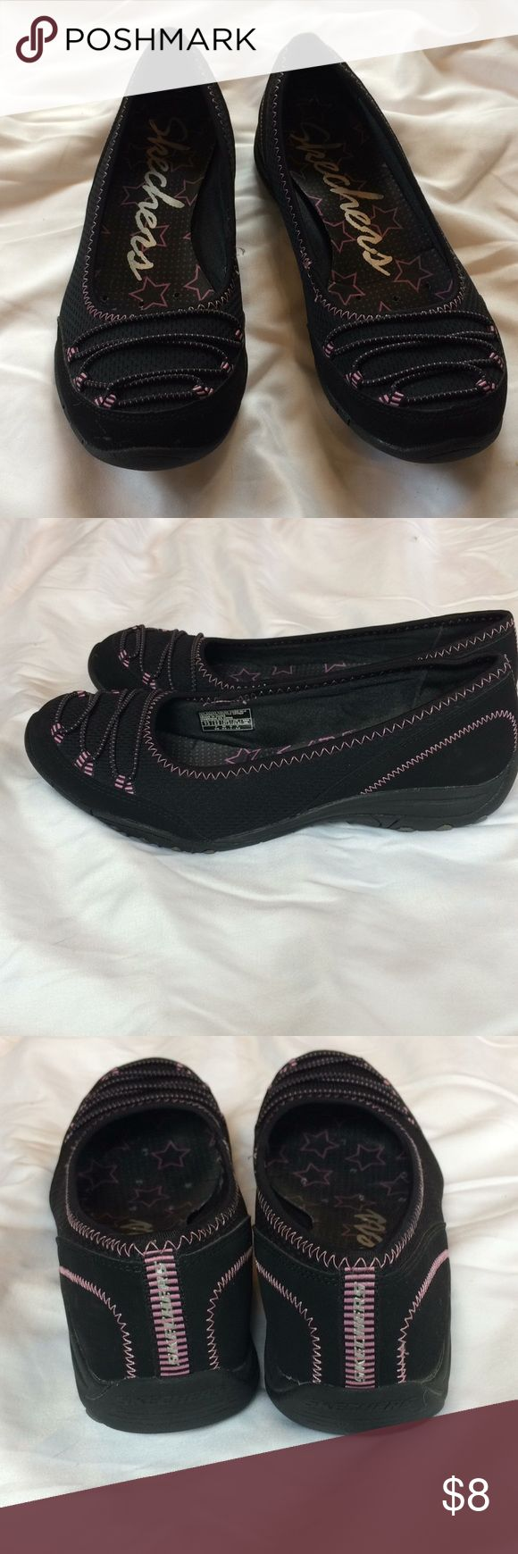 Sketchers Slip On Flat Brand new! Sketchers sneaker flat features breathable upper sporty design with pink cross ties. Foot pad is cushioned. Rubber sole prevents slipping Sketchers Shoes Flats & Loafers