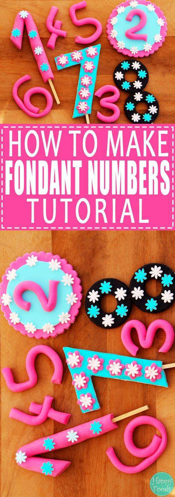 How to Make Fondant Numbers for Birthday Cake - Easy cake decorating tutorial! Learn how to decorate your cake! | happyfoodstube.com