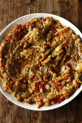 Eggplant and Red-Pepper Salad The secret to this dish is bringing the eggplant dangerously close to burning. The dark caramelization provides an almost nutty counterpoint to the sweetness of the onions and peppers.