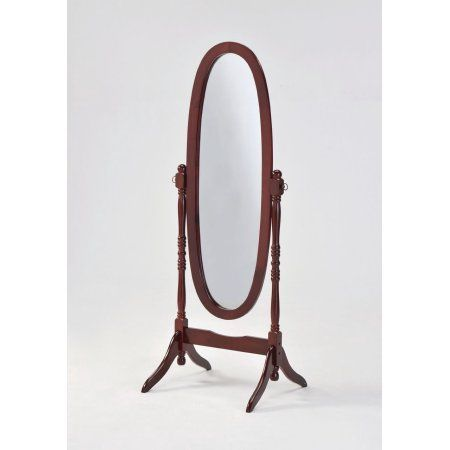 Home Source Adjustable Full- Length Cherry Finish Mirror, Red