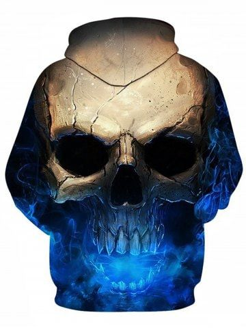 9ff587dc9ea2 3D Skull Print Pocket Hoodie