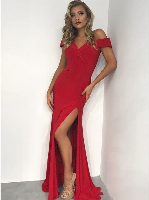 Timeless Off Shoulder Tight Red Split Sweep Train Prom Dress in 2019 ... 159cfe227fb0